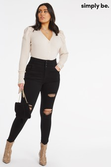 Simply Be Shape & Sculpt Extra High Waist Ripped Skinny Jeans (BCI Cotton)