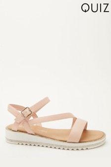 Quiz Comfort Faux Leather Embellished Sole Sandal