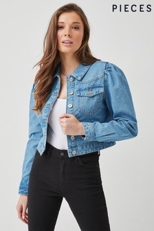 Pieces Puff Sleeve Denim Jacket