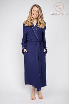 Cyberjammies Ellie Navy Knitted Dressing Gown