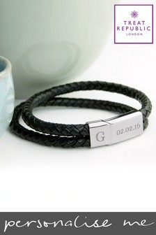 Personalised Dual Leather Bracelet by Treat Republic