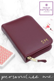 Personalised Leather Double Playing Card Case by Treat Republic