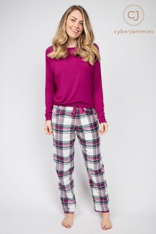 Cyberjammies Cerise Slouch Top and Check Pant