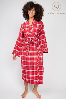 Cyberjammies Robyn Red Check Long Dressing Gown