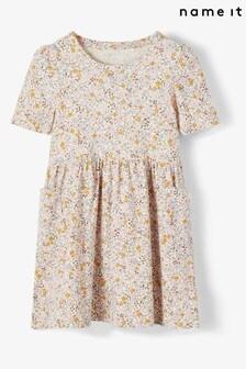 Name It Printed Short Sleeve Smock Dress