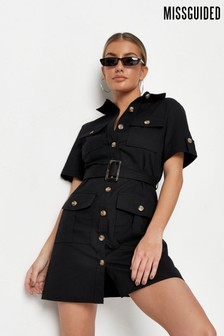 Missguided Utility Pocket Belted Shirt Dress