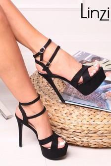 Linzi Mia Heavy Stiletto Platform With Double Ankle Strap Crossover Front Strap