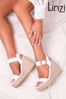 Linzi Nemesis Suede Espadrille Wedge With Giant Buckle Detail
