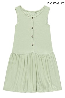 Name It Button Front Sleeveless Smock Dress