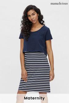 Mamalicious Maternity Stripe Jersey Dress With Nursing Function