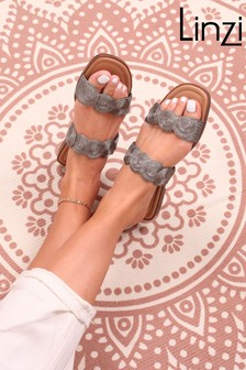Linzi Maya Knitted Upper Square Toe Slider With Double Strap Detail