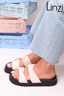 Linzi Serenity Twist Padded Chunky Slip on Slider Sandal