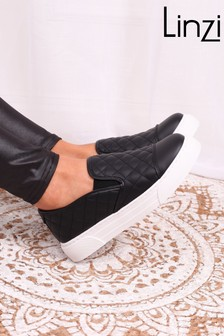 Linzi Neve Soft Faux Leather Quilted Slip on Trainer