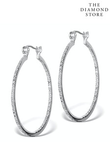 The Diamond Store Diamond Hoop Earrings 35mm