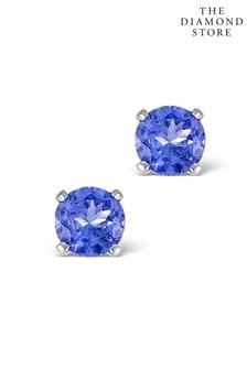 The Diamond Store Tanzanite 1.00CT High Quality AA 925 Silver Earrings