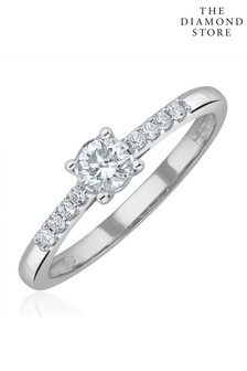The Diamond Store Lab Diamond Side Stone Engagement Ring 0.25ct H/Si in 9K White Gold
