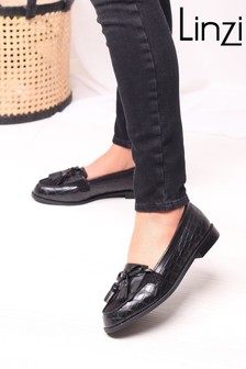 Linzi Nelle Croc  Suede Classic Loafer with Bow Fringing
