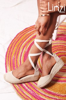 Linzi Melrose Canvas Closed Toe Espadrille Low Wedge With Tie Up Straps