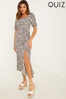 Quiz Animal Print Puff Sleeve Midi Dress