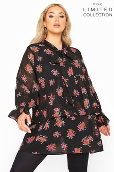 Yours Limited Floral Tiered Bow Blouse