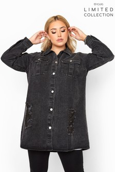 Yours Limited Washed Distressed Longline Denim Shacket