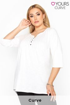Yours Pleated Henley Top