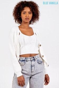 Blue Vanilla Cable Knit Crop Top & Cardigan Set