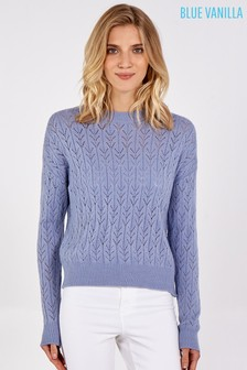 Blue Vanilla Crochet Knit Round Neck Jumper