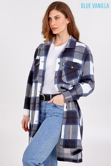 Blue Vanilla Check Longline Shacket