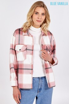 Blue Vanilla Check Pocket Front Shacket
