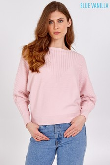 Blue Vanilla Ribbed Sleeves Detail Batwing Jumper