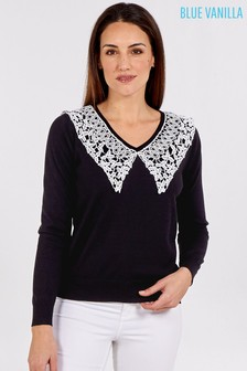 Blue Vanilla Lace Collar V-Neck Jumper