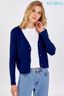 Blue Vanilla Cable Knit Button Up Cardigan