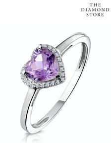 The Diamond Store Halo Amethyst and Diamond Stellato Heart Ring in 9K White Gold