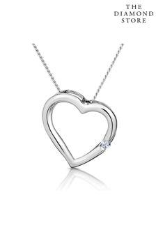 The Diamond Store Diamond Heart Pendant Necklace 0.03ct 9K White Gold