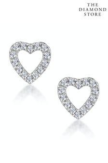 The Diamond Store Stellato Diamond Heart Earrings in 9K White Gold