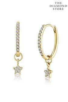 The Diamond Store Stellato Diamond Encrusted Hoop Star Earrings 0.12ct