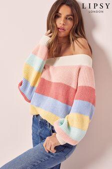 Lipsy Stripe Slash Neck Knitted Jumper