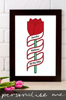 Personalised Special Date Rose Framed Print by Instajunction
