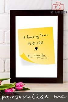 Personalised Special Date And Message Sticky Note Framed Print by Instajunction