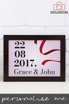 Personalised Special Date And Ribbon Framed Print by Instajunction