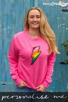 Percy & Nell Embroidered Lightning Bolt Slogan Sweatshirt