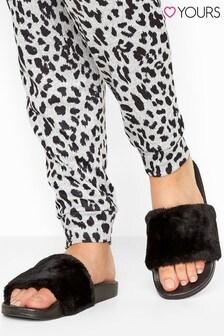 Yours Vegan Faux Fur Sliders In Regular Fit