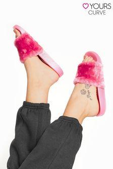 Yours Vegan Fur Sliders In Regular Fit