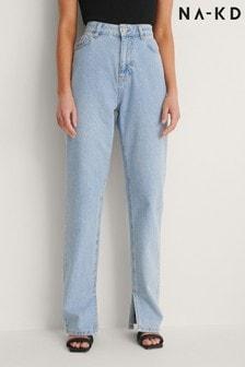 NA-KD Side Slit Denim Jeans