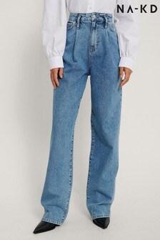 NA-KD Organic Front Pleat Wide Leg Denim Jeans