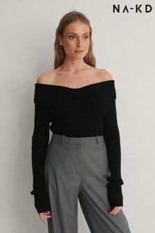 NA-KD Off Shoulder Ribbed Knit Sweater