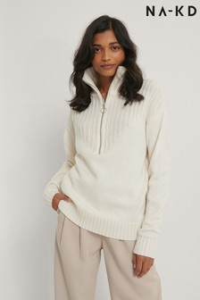 NA-KD Recycled Rip Detail Zip Knitted Sweater