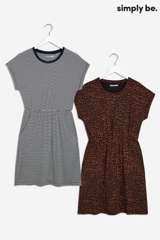 Simply Be Two Pack of T-shirt Dresses