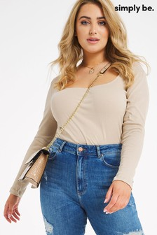 Simply Be Square Neck Ribbed Top